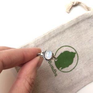Rainbow Moonstone Filigree Sterling Silver Ring